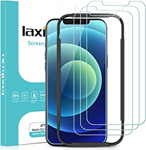laxikoo 3 Pack Full Screen Protector Compatible with iPhone 12, iPhone 12 Pro Glass Screen Protector, 9H Hardness Tempered Glass Film with 10s Easy Installation Alignment, Bubble Free, Case Friendly