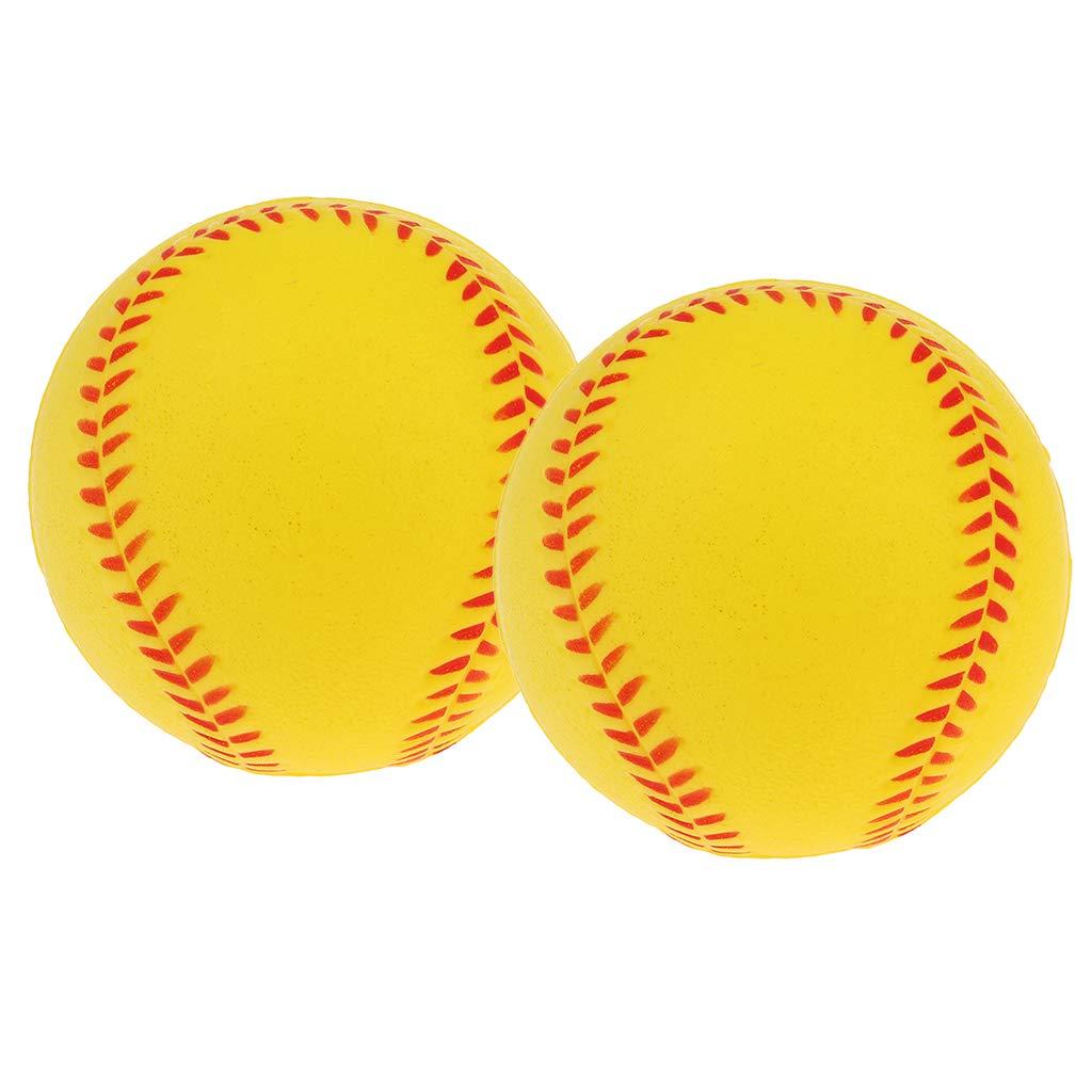 FLAMEER 2 Count Practice Baseballs Foam Softballs Batting Training Weicher Ball Wei/ß//Gelb 9 Zoll