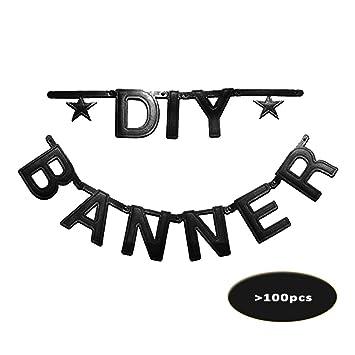 Diy Banner Customizable Letters Characters Symbols Black Decoration