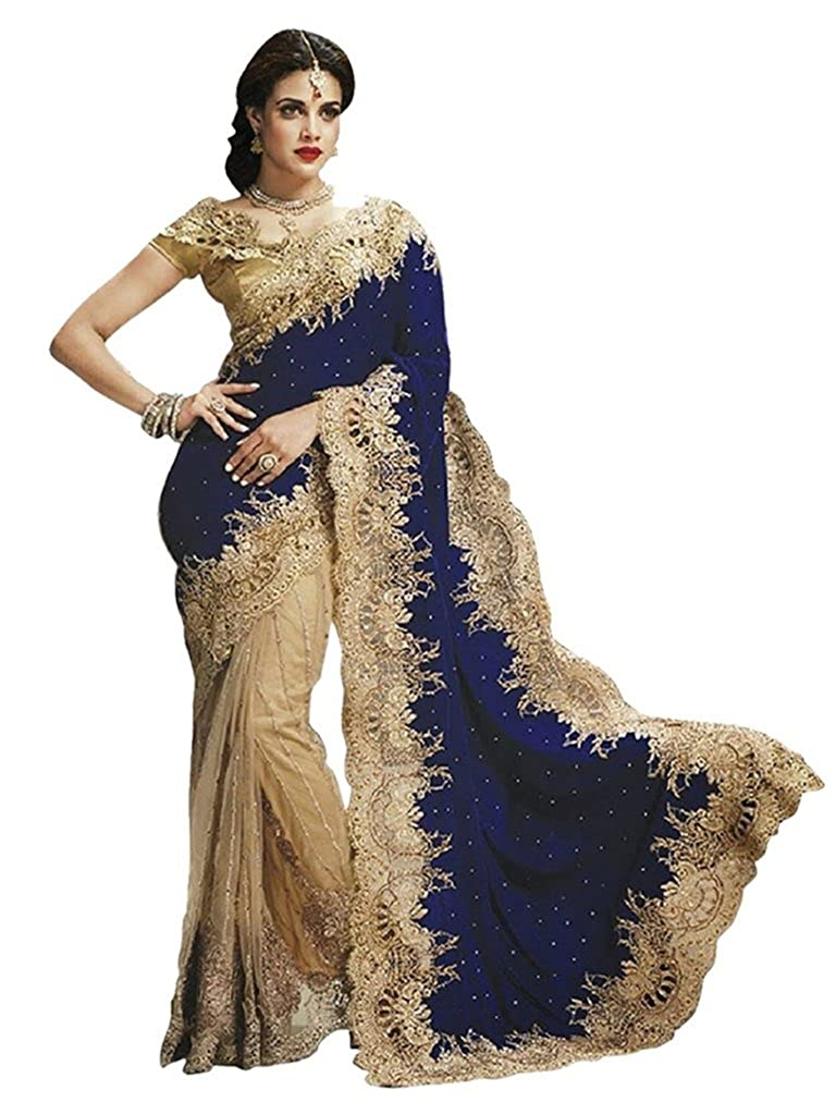 Vinayak Textile Women's Velvet and Net Saree with Blouse