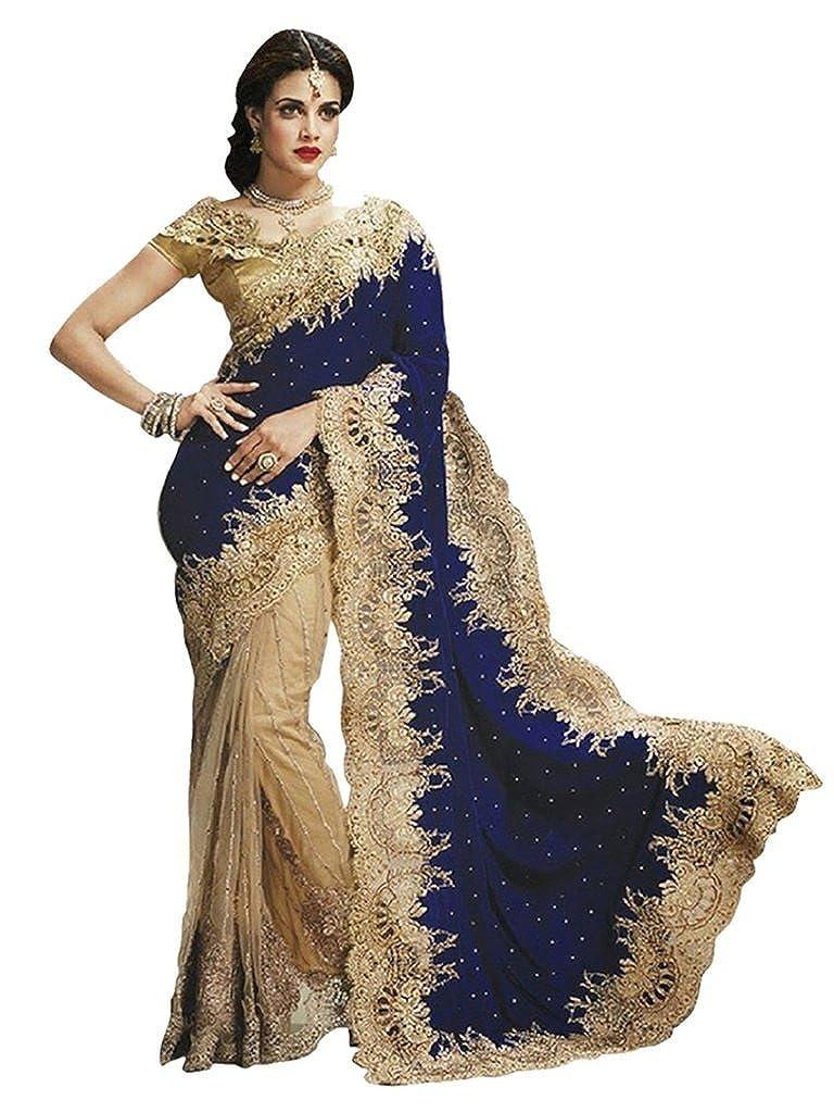 Vinayak Textile Women's Velvet and Net Saree with Blouse
