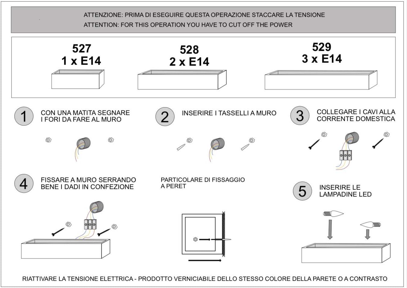 APPLIQUE IN GESSO CERAMICO DI FORMA RETTANGOLARE PER 2 E14 CSF528