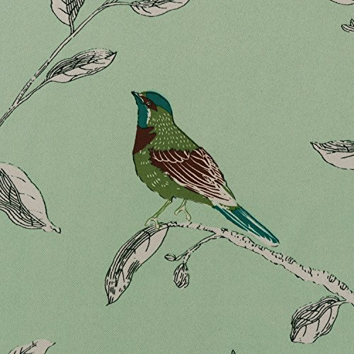 H.Versailtex Traditional Birds Floral Pattern in Quiet Green Base Thermal Insulated Blackout Curtains for Bedroom,Antique Grommet Top, 2 Panels, W52 x L63 inch
