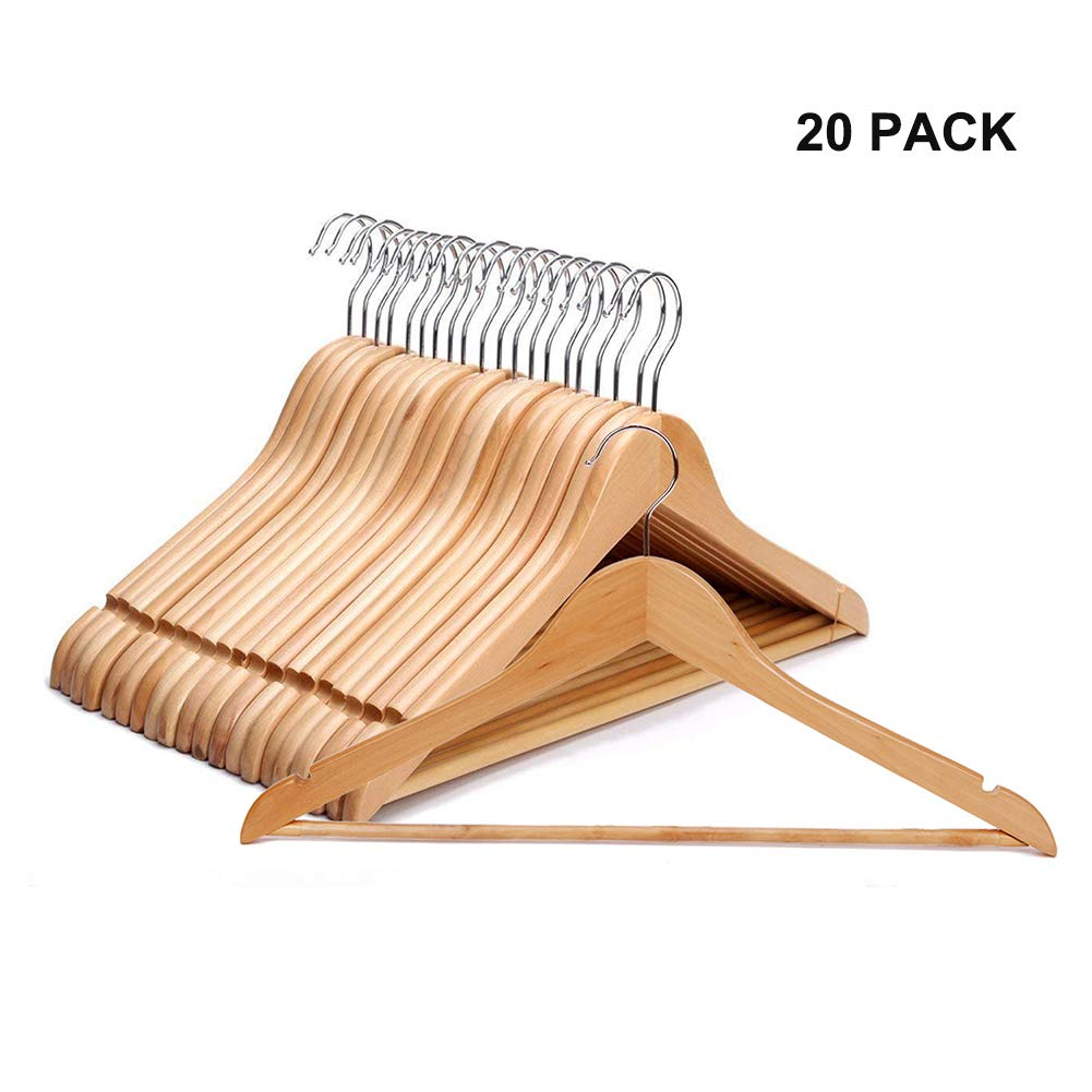 JS HANGER Suit/Coat Hanger, Pack of 20, Solid Wooden Pant Hanger with Non Slip Bar and Cut Notches, Natural Finish