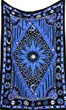 Blue Psychedelic Celestial Sun Moon tapestry Planet Bohemian Tapestry/ Wall Hanging Dorm Decor Boho Tapestry /Hippie Hippy Tapestry Beach Coverlet Curtain (Dark Blue) by Jaipur Handloom