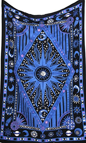 Blue Psychedelic Celestial Sun Moon tapestry Planet Bohemian Tapestry/ Wall Hanging Dorm Decor Boho Tapestry /Hippie Hippy Tapestry Beach Coverlet Curtain (Dark Blue) by Jaipur Handloom (Altar Cloth Tapestry)