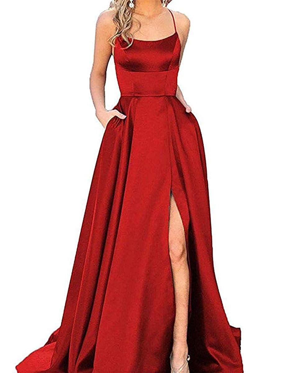 Dark Red ZLQQ Split Formal Evening Gowns Spaghetti Straps Satin Prom Dresses Long with Pockets Womens