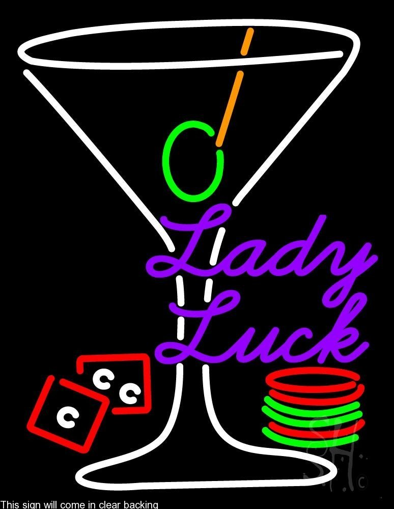 Lady Luck Martini Glass Clear Backing Neon Sign 24'' Tall x 31'' Wide by The Sign Store