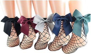 Women/'s Soft Black Fishnet Mesh Lace Ruffle Socks Stockings Silky Short Ankle CC
