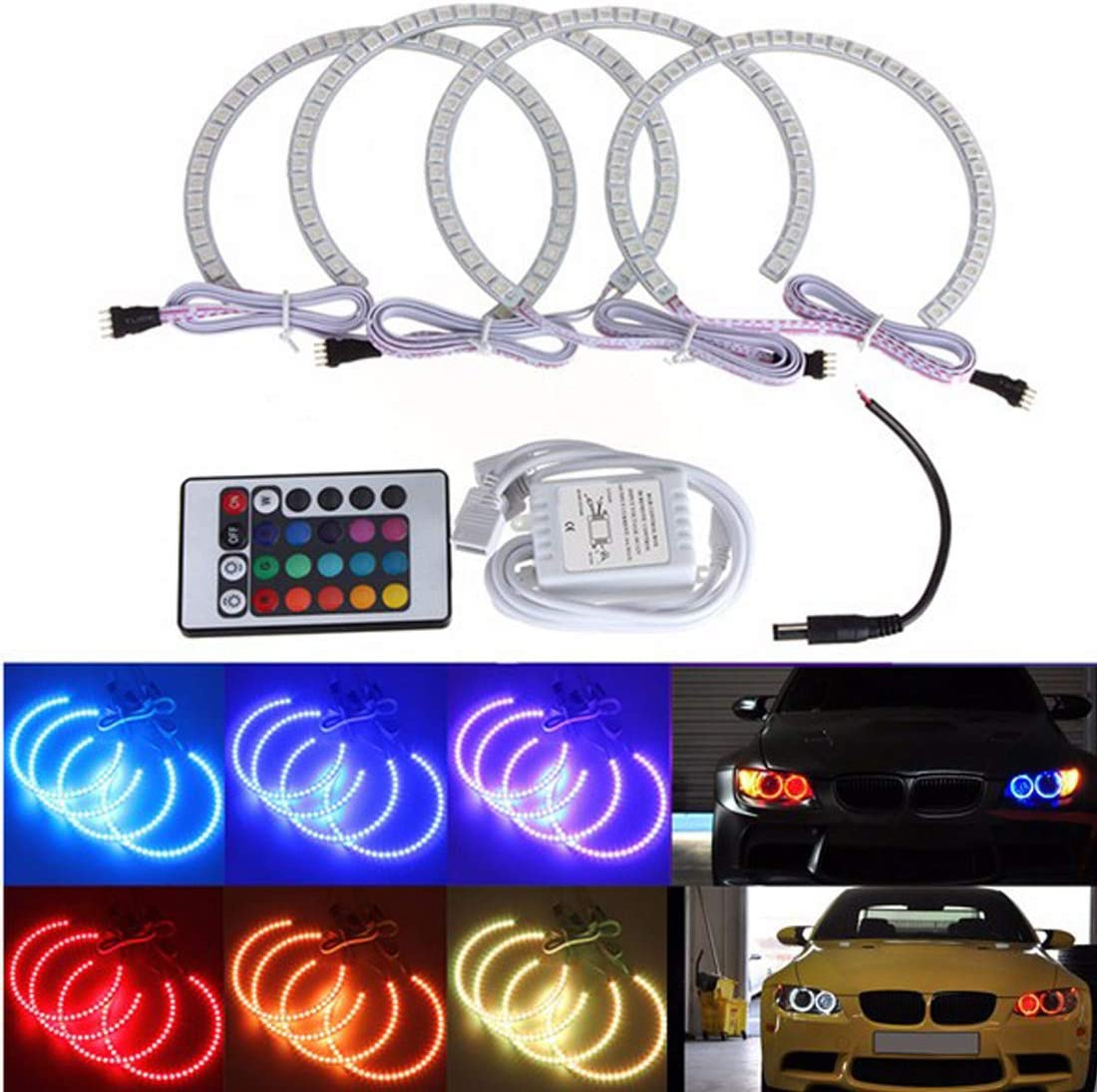 131MM LED Multicolori LED Angel Eyes 5050 RGB Flash per fari Flash per BMW E46 MuChangZi 1 Set 4