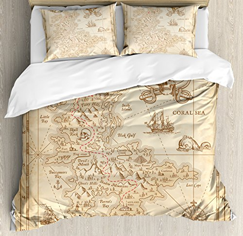 Pirate Adventure Island (Ambesonne Ocean Island Decor Duvet Cover Set, Old Ancient Antique Treasure Map with Details Retro Color Adventure Sailing Pirate Print, 3 Piece Bedding Set with Pillow Shams, Queen/Full, Cream)