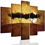 Feeby. Multipart Canvas - 5 panels - Wall Art Picture, Image Printed on Canvas, 5 parts, Type A, 100x70 cm, AFRICA, VIEW, SAVANNA, TREES, SUNRISE, YELLOW, BROWN