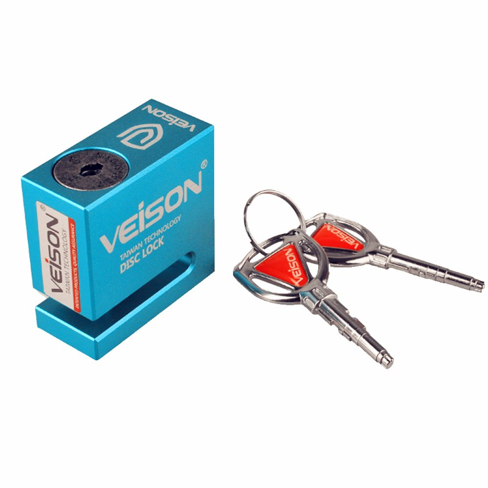 Motorcycle Bikes Disc Brake Lock, High strength Anti-Rust Alloy, Pressing Lock, 6mm Pin, Theft Protection(Blue) VEISON