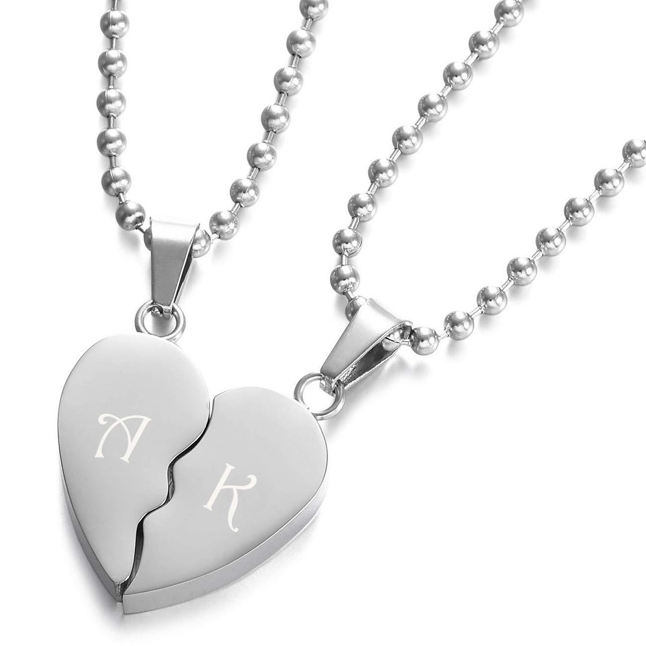 f7f4c7a5721b MeMeDIY 2 Pièce Ton d argent Acier Inoxydable Pendentif Collier Combiné Coeur  Cœur Couple Amour Amoureux Série,50cm   58cm chaîne - Gravure  personnalisée  ...