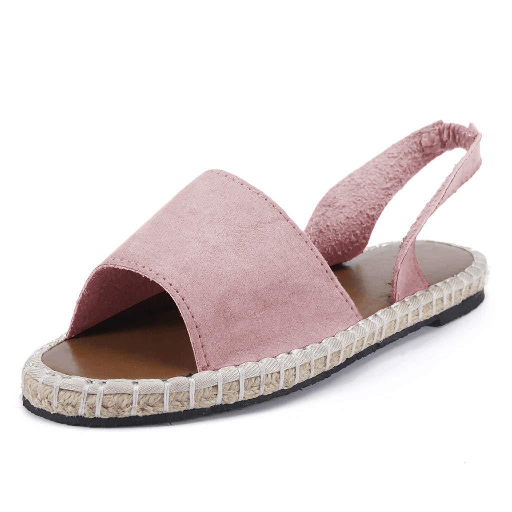 Women's Shoes for Women SYHKS Retro Women's Flat Ankle Strap Roman Slippers Sandals Ladies Beach Sandles for Women(Pink,37)