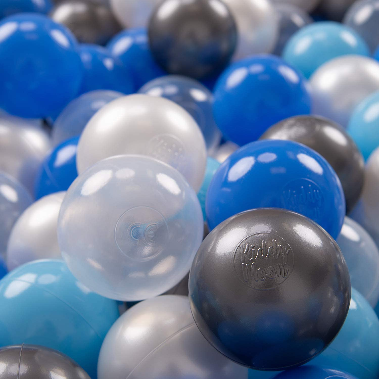 KiddyMoon 200 /∅ 7Cm Bolas Colores De Pl/ástico Para Piscina Certificadas Para Ni/ños Perla Azul Azul Claro Transparente Plateado