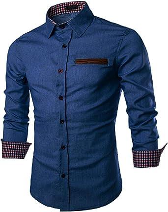 JINIDU - Camisa de vestir de manga larga con botones para hombre: Amazon.es: Ropa y accesorios