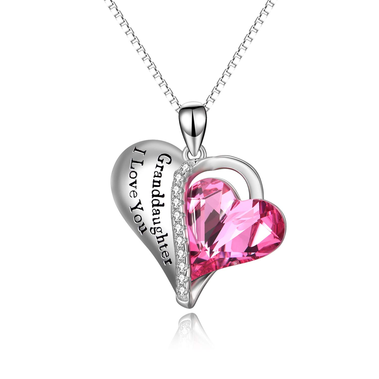 AOBOCO Granddaughter Gifts - Granddaughter I Love You - Sterling Silver Heart Necklaces from Grandma with Pink Swarovski Crystals