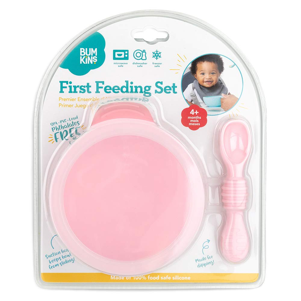 Bumkins First Feeding Set Bowl with Spoon and Lid Grey