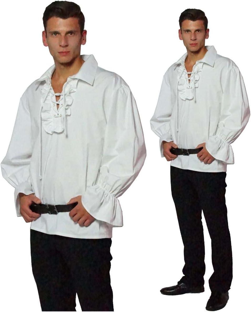 Maylynn 13711-M - Camisa de Pirata Medieval con Volantes de algodón, Talla M, Blanca: Amazon.es: Juguetes y juegos