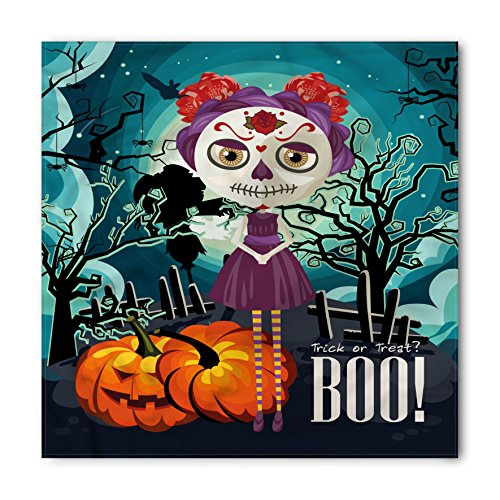 Lunarable Halloween Bandana, Girl Sugar Skull Makeup, Unisex Head and Neck -