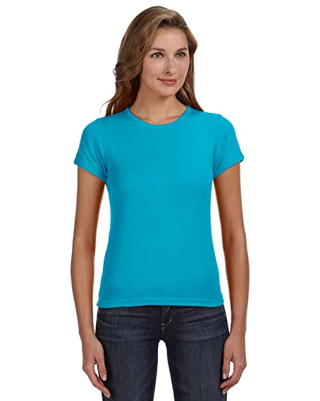 5aed8bf5 Clementine Womens 1x1 Rib Scoop Neck T-Shirt 1441 -Caribbean BL 2XL at  Amazon Women's Clothing store: