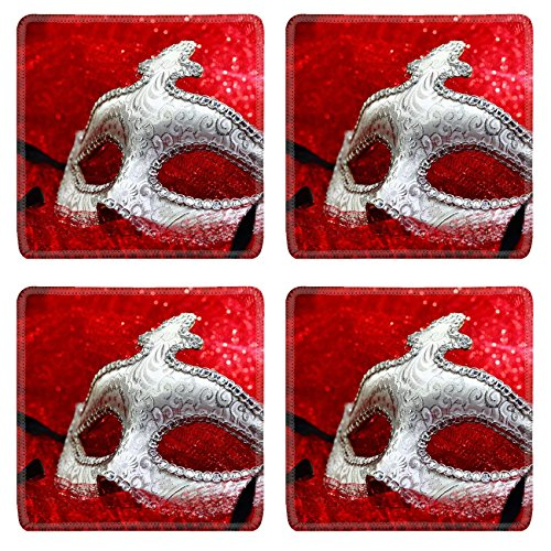 Luxlady Natural Rubber Square Coasters IMAGE ID: 34467506 Vintage carnival mask in red (Italian Carnival Costume Ideas)