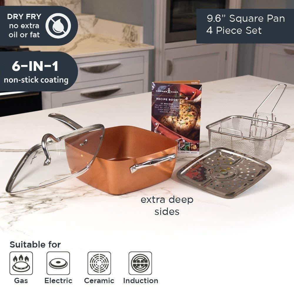 Amazon.com: Orihat 6 en 1 sartén antiadherente con tapa de ...