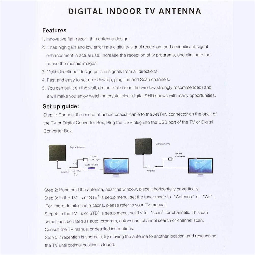 Antena de TV, 80 Miglia de alta calidad en Interior Indoor Digital HDTV Antena HDTV Signal Amplifier Booster & Cable: Amazon.es: Iluminación