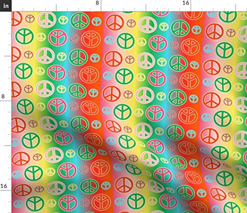 Spoonflower Peace Fabric - Peace Signs Groovy Hippie Retro Colorful Colourful by Lyddiedoodles Printed on Petal Signature Cotton Fabric by The Yard for $<!--$17.50-->