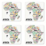 Ambesonne Quote Coaster Set of Four, Colorful Lettering of African Countries in Africa Continent with Animals Art Print, Square Hardboard Gloss Coasters for Drinks, Multicolor