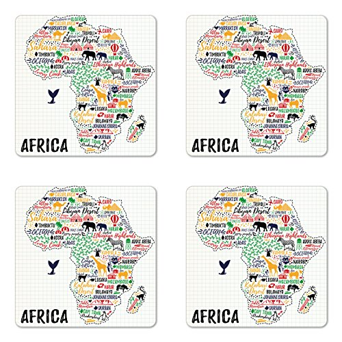 Ambesonne Quote Coaster Set of Four, Colorful Lettering of African Countries in Africa Continent with Animals Art Print, Square Hardboard Gloss Coasters for Drinks, Multicolor by Ambesonne