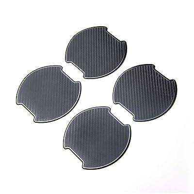 TANGSEN 4Pcs Universal TPU 3D Carbon Fiber Texture Car Door Handle Paint Scratch Personalize Protective Pad Protector Sticker Protection Cover Scotchguard Clear Guard Film (L): Automotive