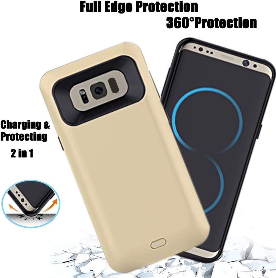 Gold 5000-5500mAh External Back Power Bank Pack Battery Charger Case For Samsung Galaxy S8 Plus