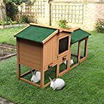 Tangkula Chicken Coop, Wooden Large Outdoor Poultry Cage (Such as Bunny/Rabbit/Hen) with Ventilation Door and Removable Tray & Ramp, 58'' Chicken Rabbit Hutch 14