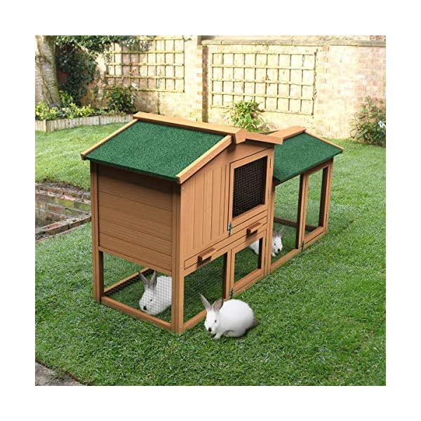 Tangkula Chicken Coop, Wooden Large Outdoor Poultry Cage (Such as Bunny/Rabbit/Hen) with Ventilation Door and Removable Tray & Ramp, 58'' Chicken Rabbit Hutch 4