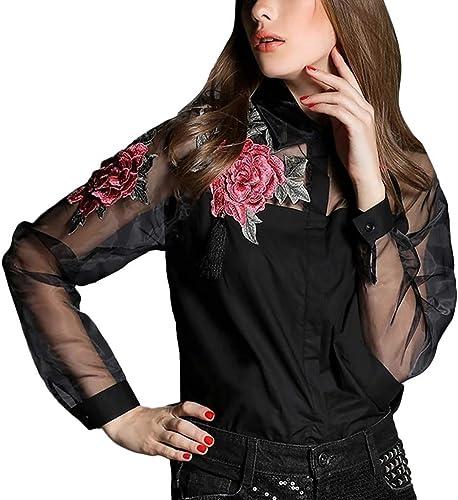 Xjp - Blusa de manga larga para mujer, transparente, de tul ...
