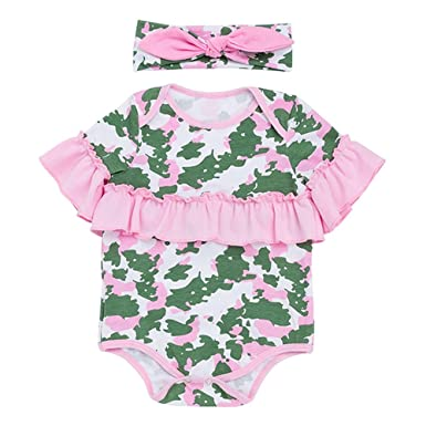 0e7b9f12f8e Amazon.com  Fineser Infant Baby Girls Summer Camouflage Rompers Cute  Jumpsuit with Headband Outfits  Clothing
