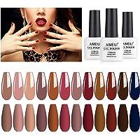 AIMEILI Soak Off UV LED Gel Nail Polish Multicolour/Mix Colour/Combo Colour Set Of 12pcs X 8ml - Kit Set 4