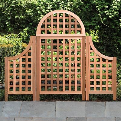 Arboria Andover Arch Cedar Trellis with Wings, Natural, 67''H