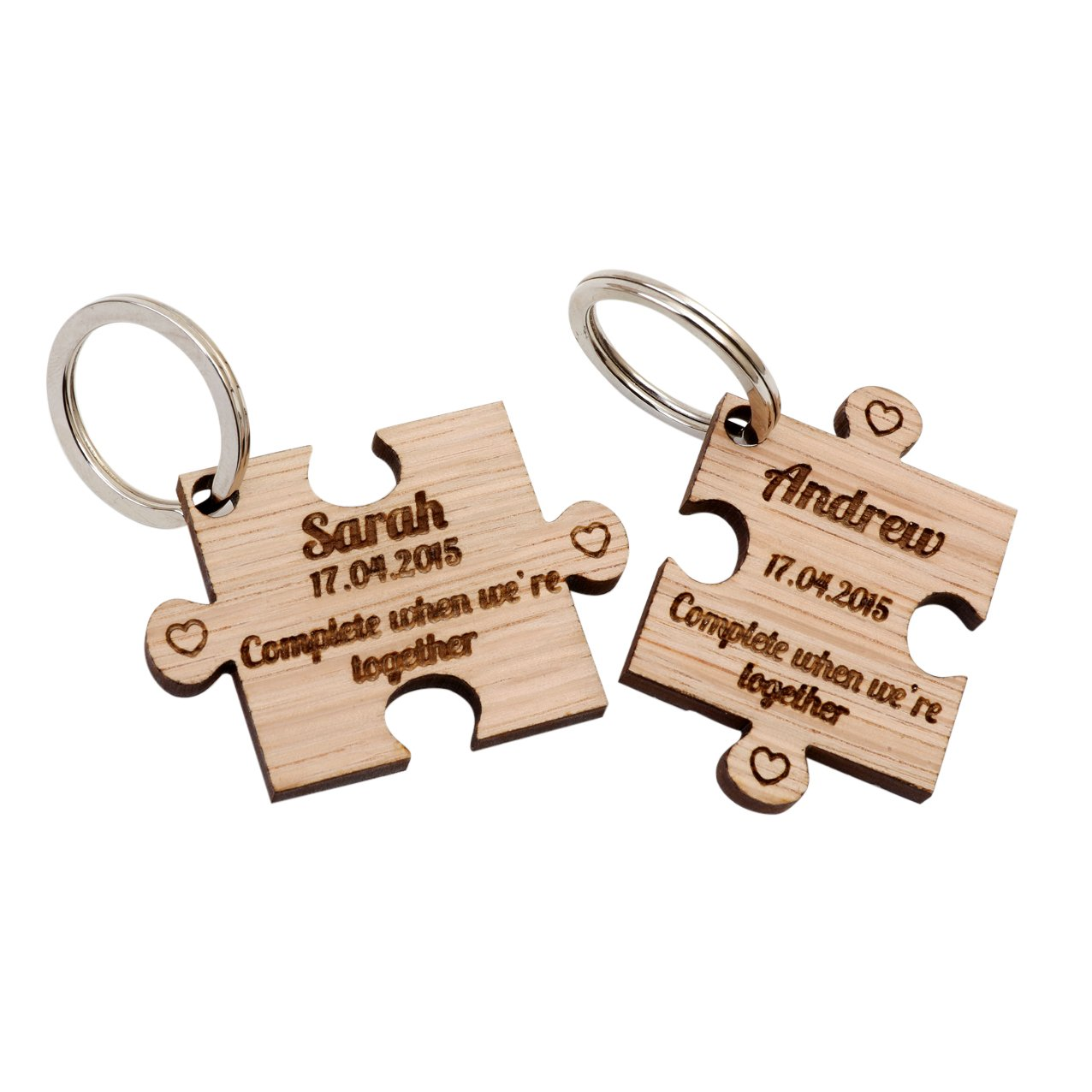 2 x Personalised Jigsaw Puzzle Piece Wooden Keyrings Each Engraved with a Name & Date AYOT