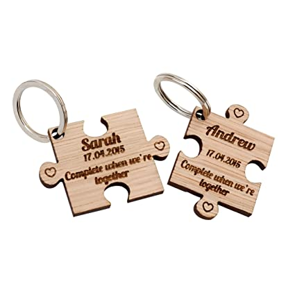 2 x Personalised Jigsaw Puzzle Piece Wooden Keyrings Each Engraved with a  Name   Date  Amazon.co.uk  Kitchen   Home 1fe86bc1b5