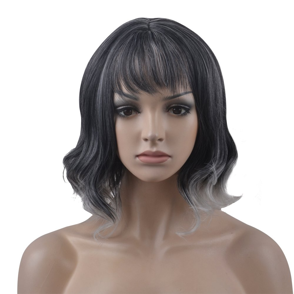 eNilecor Short Curly Women Synthetic Wigs with Bangs (Black/Grey)