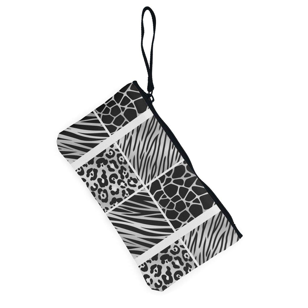 Different Silver Animal Print Pattern Canvas Card Wallet With Zipper For Women Womens Fashion Coin Purse