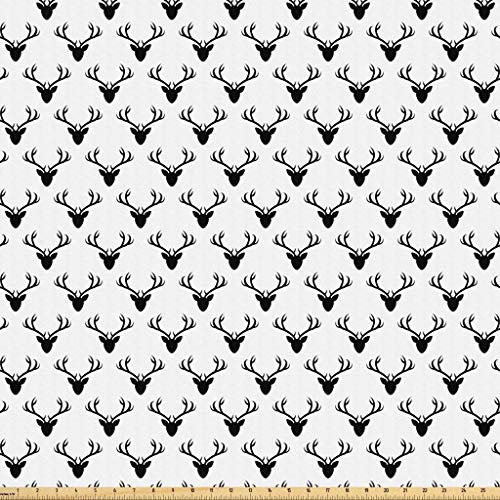 Lunarable Deer Fabric by The Yard, Pattern with Deer Heads Silhouettes Horn Curvy Wildlife Forest Creative Design Print, Microfiber Fabric for Arts and Crafts Textiles & Decor, 1 Yard, Black White
