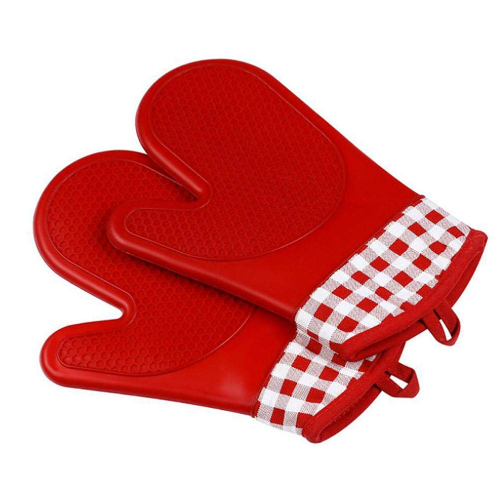 Cherry-Lee Short Silicone Kitchen Gloves Anti-Scalding Microwave Oven Gloves Anti-Heating Oven Mitts Gloves for Cooking Baking BBQ Grilling Cotton Baking Tools Kitchen Daily Necessities by trustworthy
