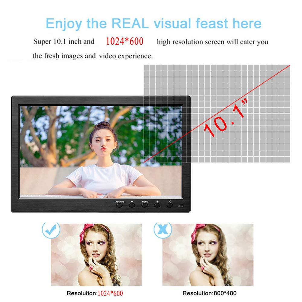 Hikity 10.1 Inch TFT LCD Monitor, HD 1024X600 Resolution BNC / AVI / VGA / HDMI Input, Compatible With PC, DVD, TV, Surveillance Camera by Hikity (Image #8)