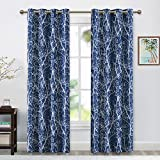 RYB HOME Print Window Curtains with Contemporary Botanical Woodland Backdrop for High Ceiling Window Dressing, Privacy Light Blocking Draperies for Patio Door, W 52' x L 95', 2 Panels, Navy Blue