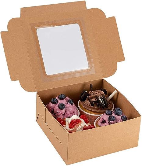 PAMASE Pastelería Duradera y Caja de Galletas con Ventana, 12 Cajas ecológicas, envoltorios de cartón para Regalo con Pegatinas, Muy Fuertes para Pasteles, Galletas, donas, Galletas (Kraft): Amazon.es: Hogar