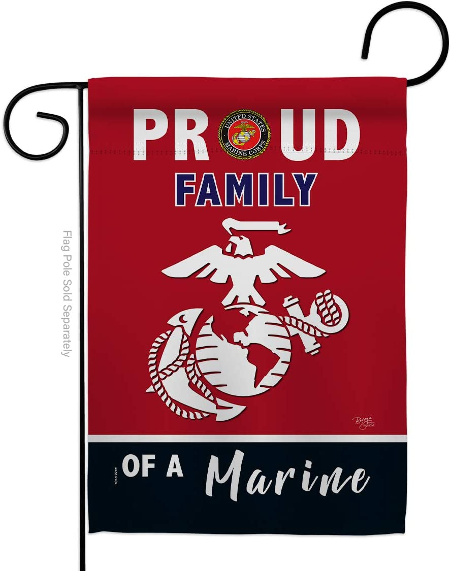Breeze Decor Proud Family Garden Flag Armed Forces Marine Corps USMC Semper Fi United State American Military Veteran Retire Official House Banner Small Yard Gift Double-Sided, Made in USA